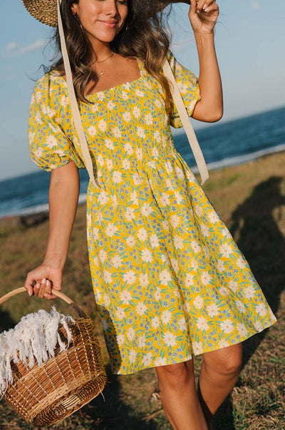 VOYAGE Mini Dress - marguerite floral linen