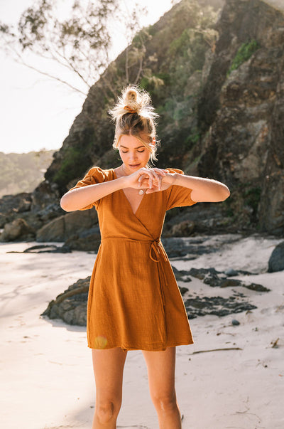 WANDERLUST Wrap Dress - ochre cotton