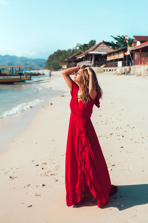 PARAISO Wrap Dress - red