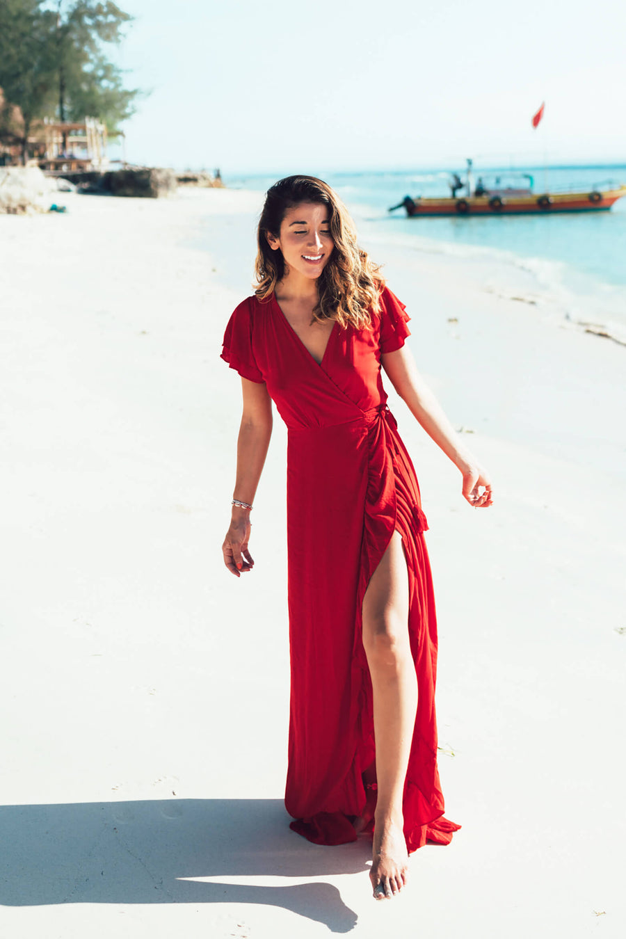 PARAISO Wrap Dress - red ecovero