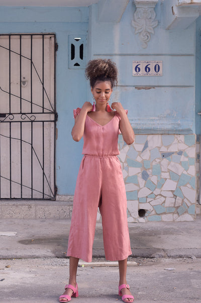 HAVANA Jumpsuit - dark blush linen