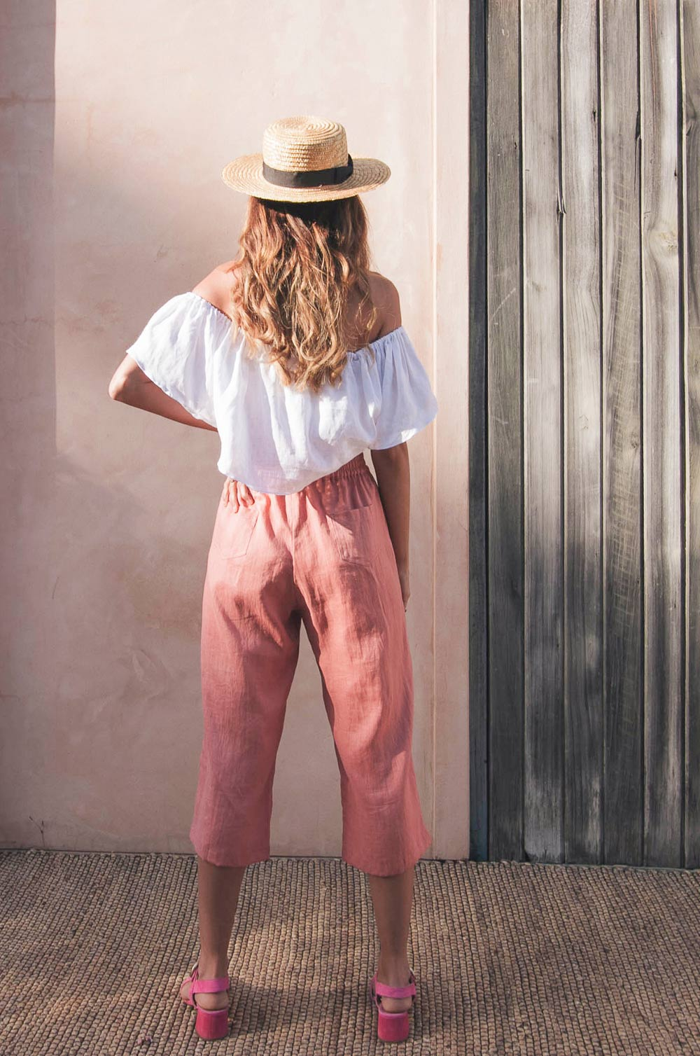 PUSHKAR Pants - dark blush linen