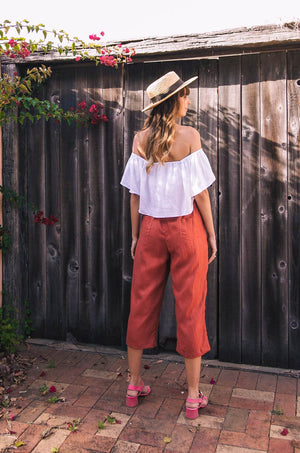 PUSHKAR Pants - terracotta linen