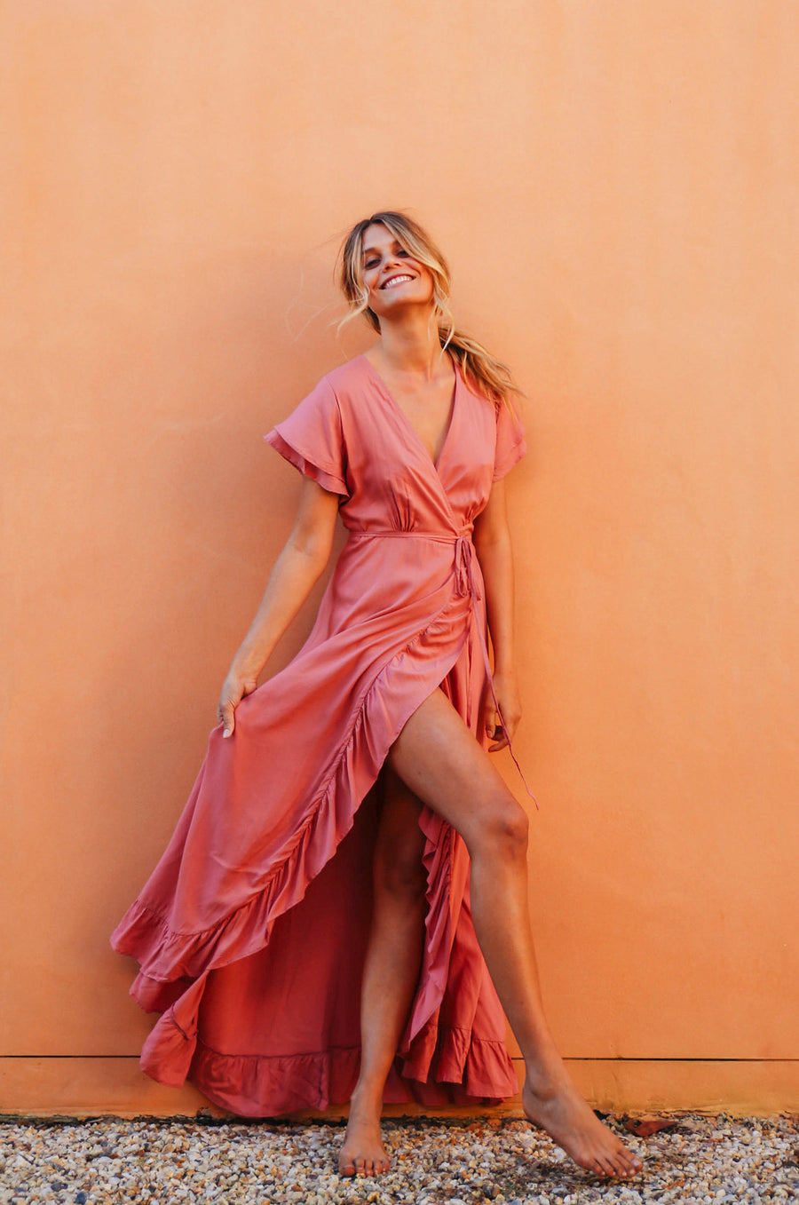 PARAISO Wrap Dress - dark blush