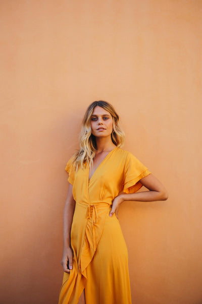 PARAISO Wrap Dress - turmeric ecovero