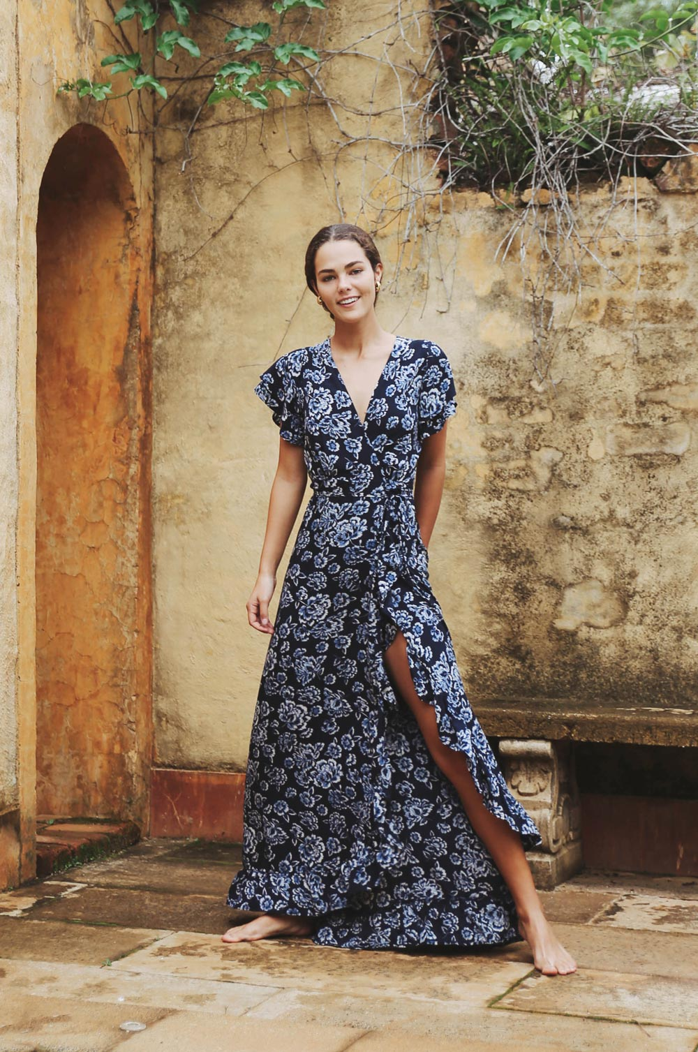 AIX Wrap Dress - navy floral