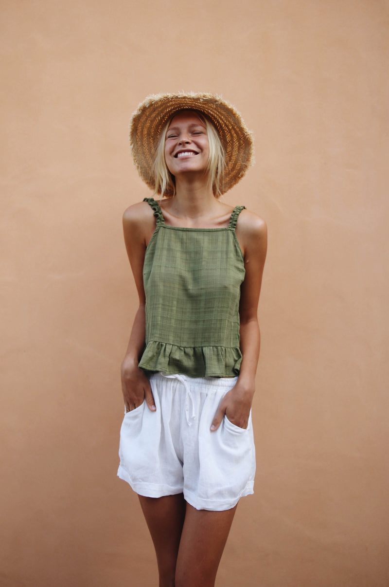 ETOSHA Top - khaki cotton