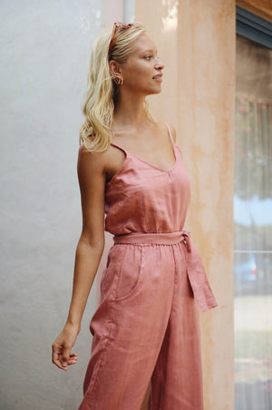MASALA Jumpsuit - dark blush linen