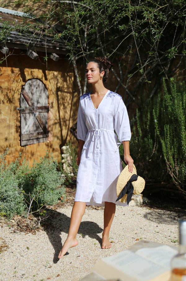 PROVENCE Embroidered Tunic-Dress