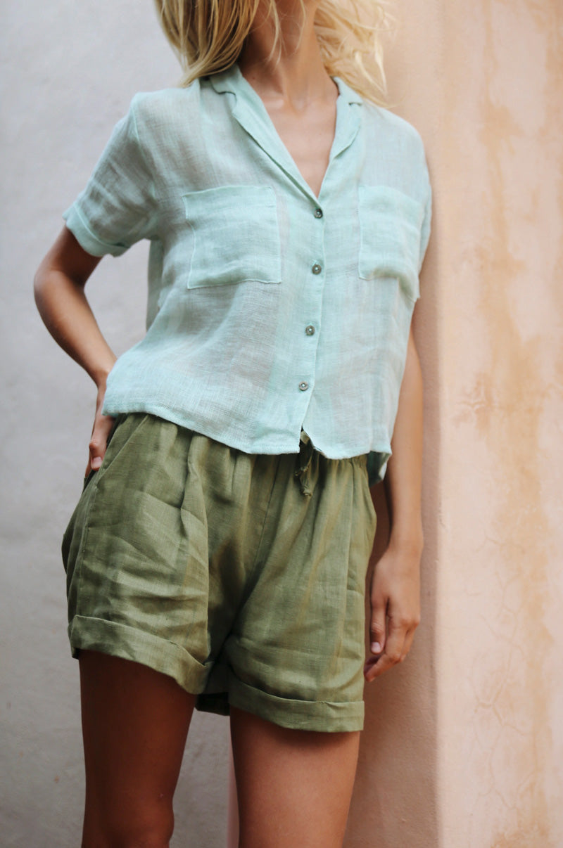 SAFARI Shirt - pastel green linen