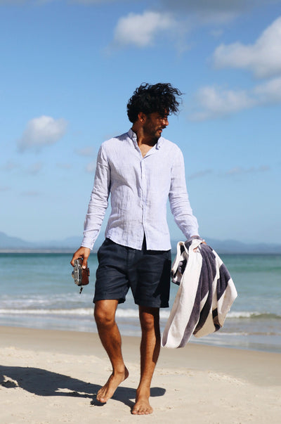 MEN'S LINEN Shirt - navy striped