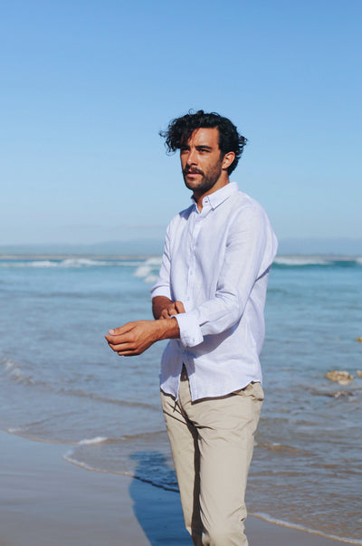 MEN'S LINEN Shirt - light blue