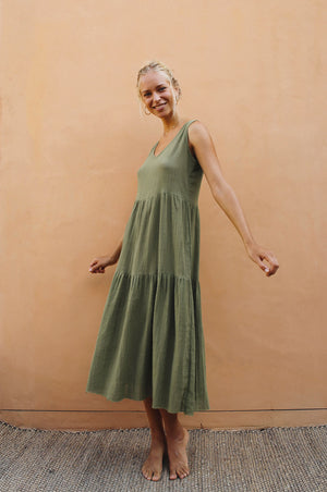 GREVILLEA Dress - khaki cotton