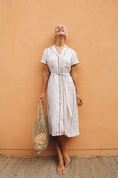 SAFARI Dress - striped linen
