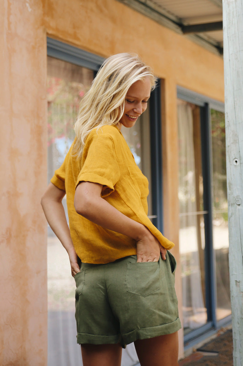 SAFARI Shirt - turmeric linen