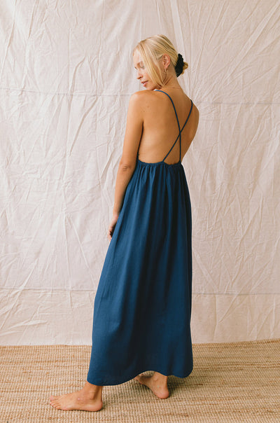 VENUS Midi Dress - midnight blue linen viscose