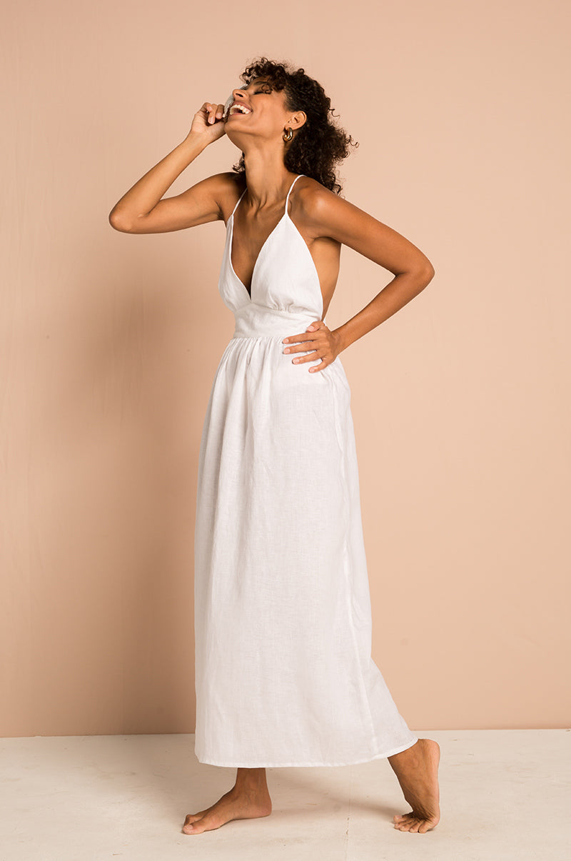VENUS Midi Dress - white linen viscose