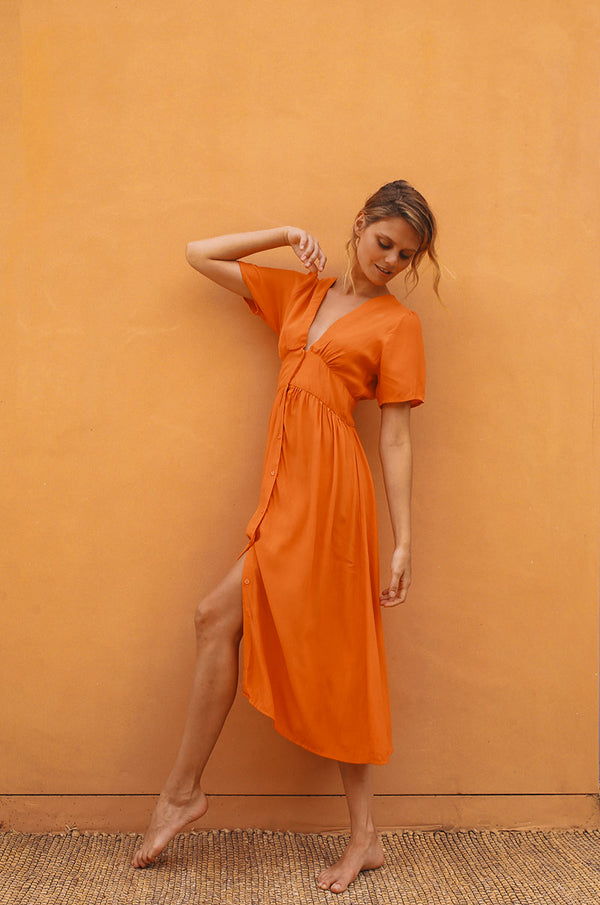 BLUE HAVEN Midi Dress - orange