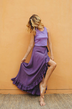 LAGOON Wrap Skirt - dark purple