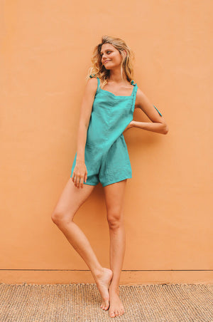 LUCKY BAY Jumpsuit - turquoise linen