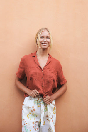 SAFARI Shirt - terracotta linen