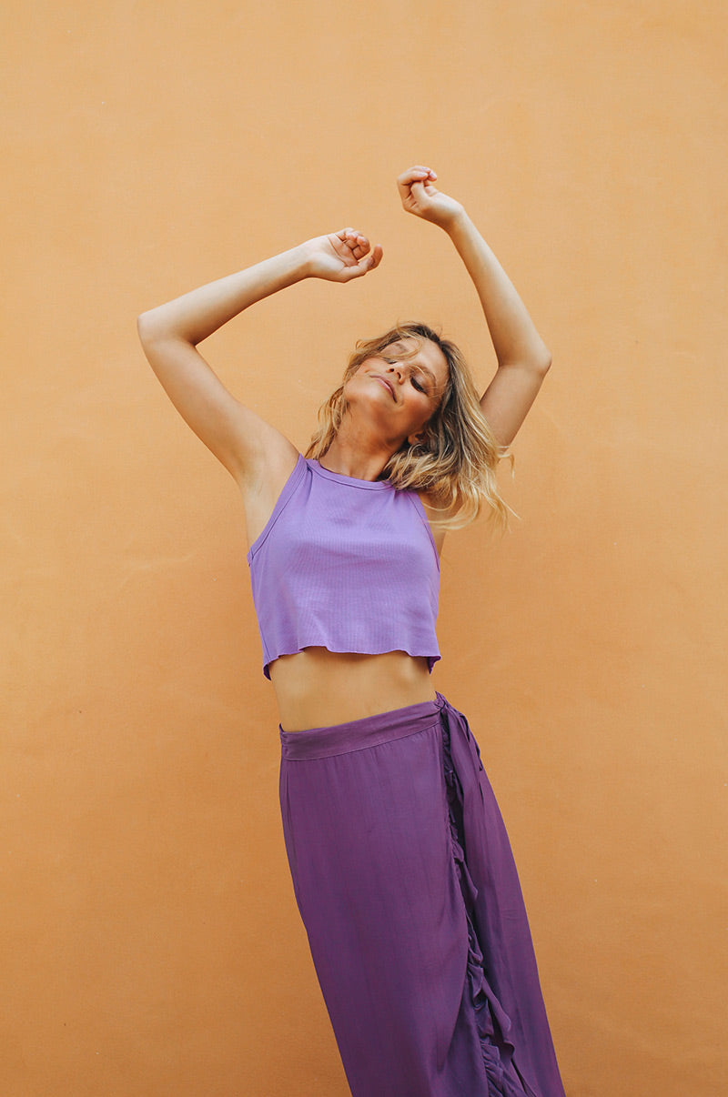SUMMER DAYS Rib Top - light purple cotton
