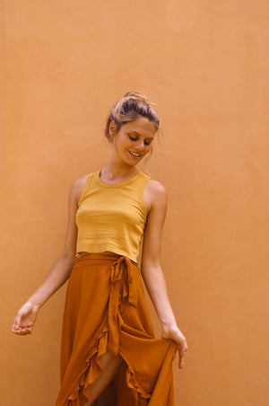 SUMMER DAYS Rib Top - sand cotton