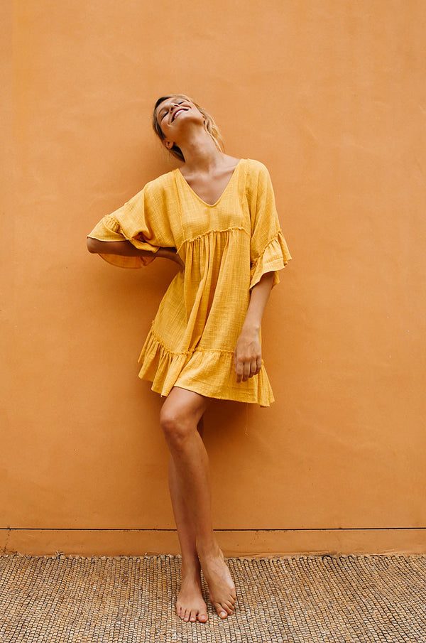 SUNRISE Dress - yellow cotton