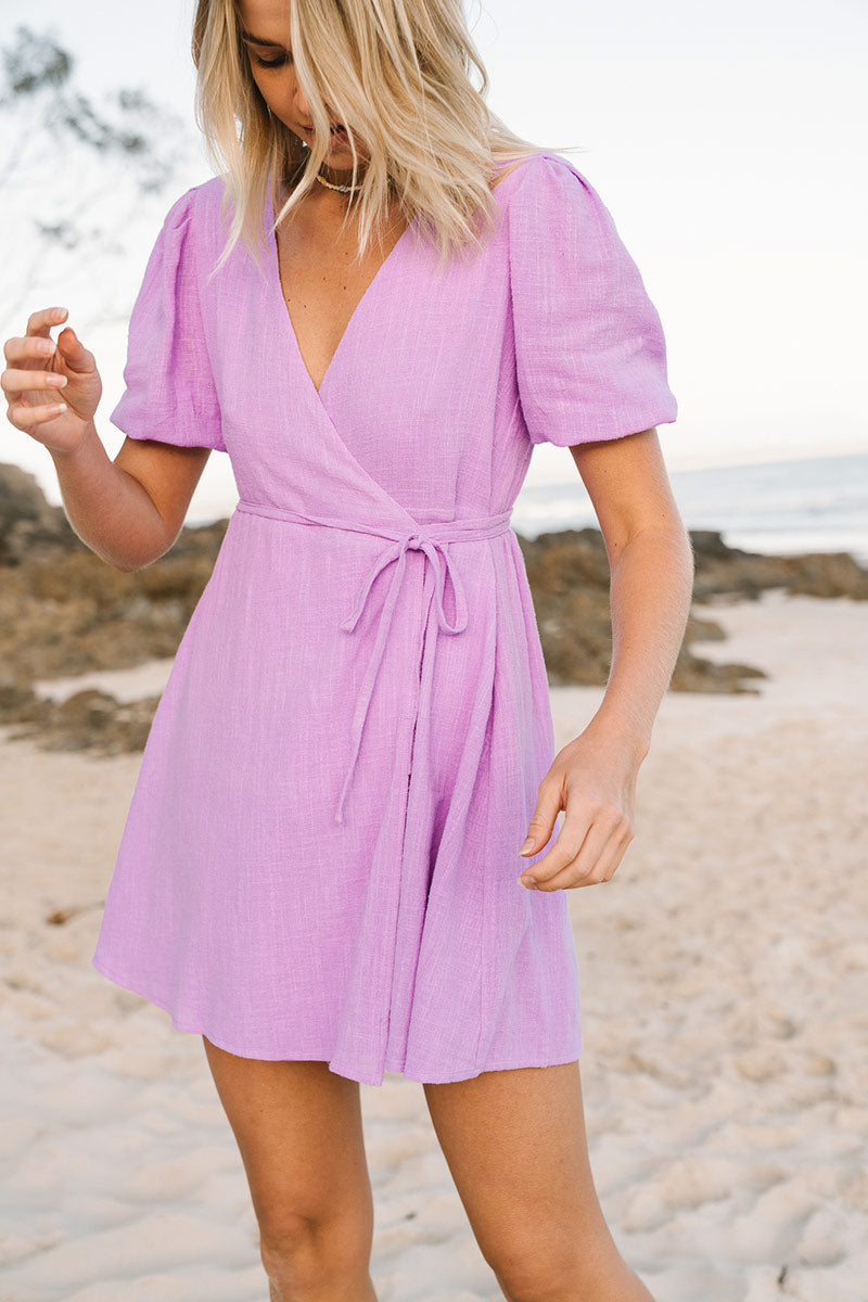 WANDERLUST Wrap Dress - lilac cotton