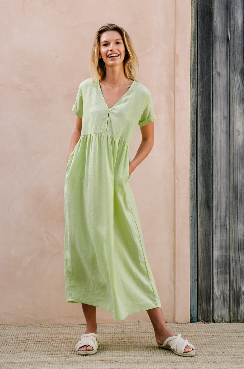 SUNSEEKER Midi Dress - pistachio linen
