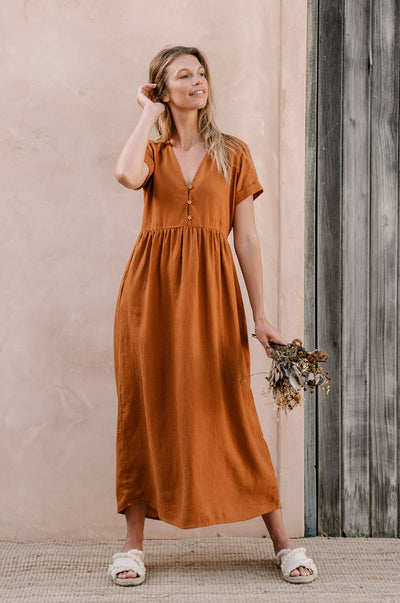 SUNSEEKER Midi Dress - ochre linen