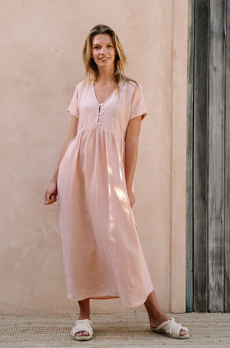SUNSEEKER Midi Dress - rose linen