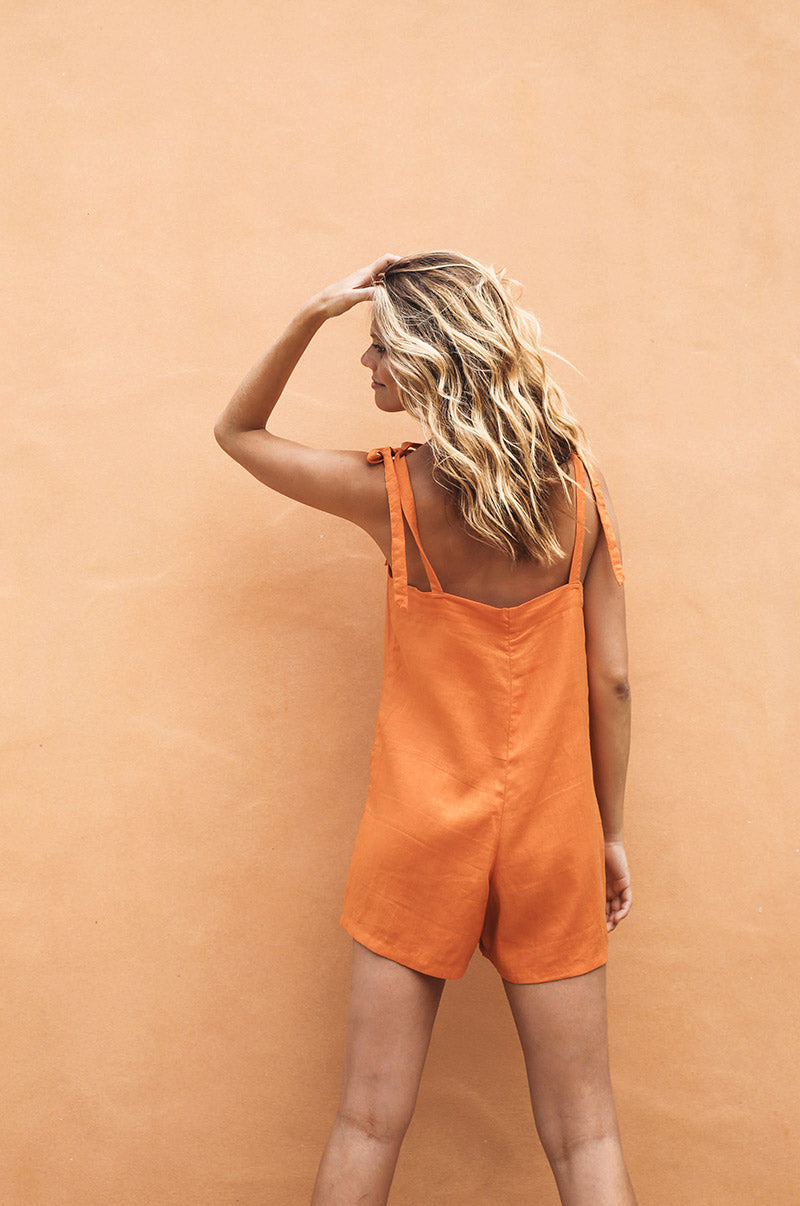 LUCKY BAY Jumpsuit - orange linen