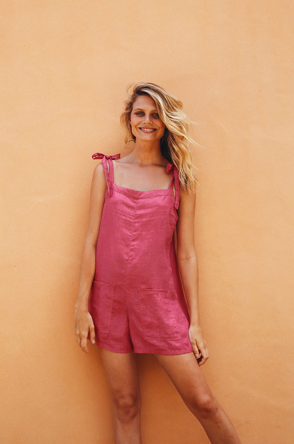 LUCKY BAY Jumpsuit - pink linen