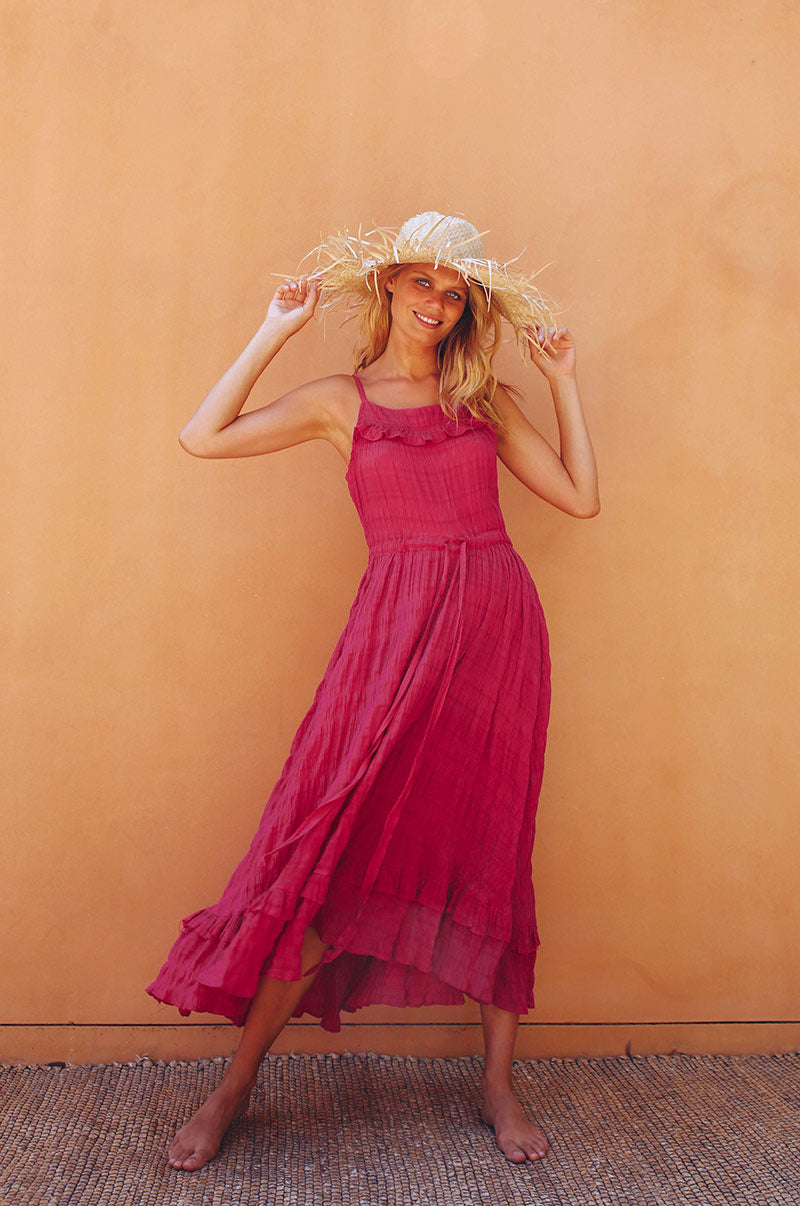 ORLEANS BAY Midi Dress - fuchsia cotton