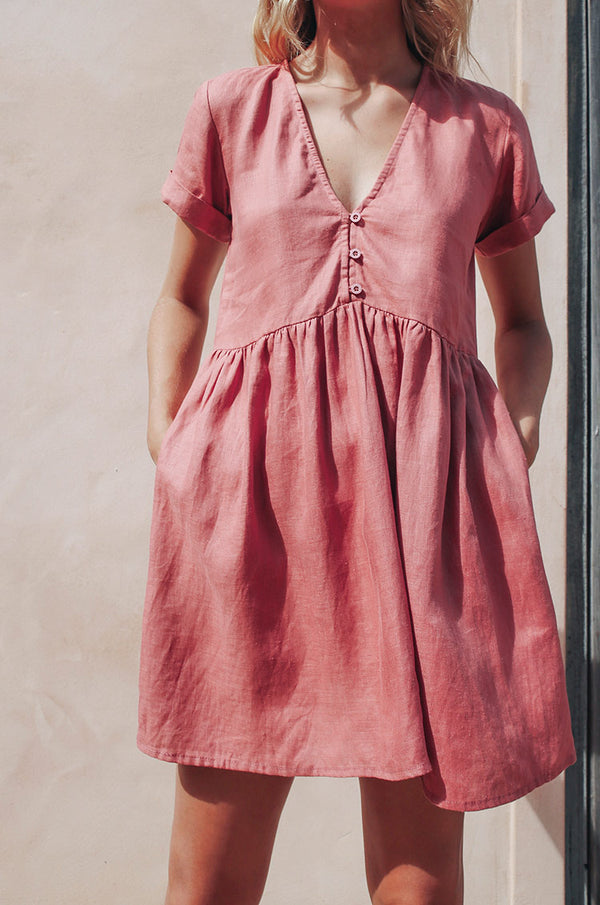 SUNCHASER Dress - dark blush linen