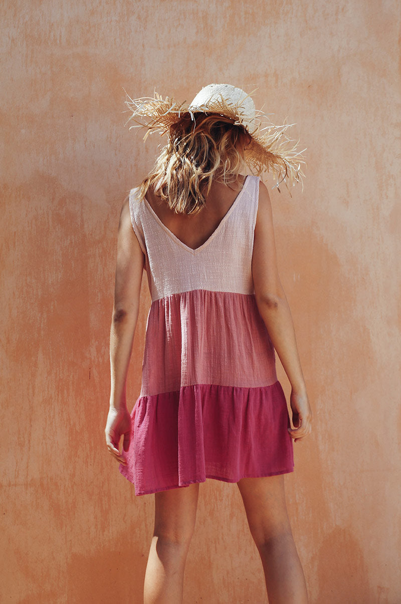 SUNSET Dress - hues of blush cotton