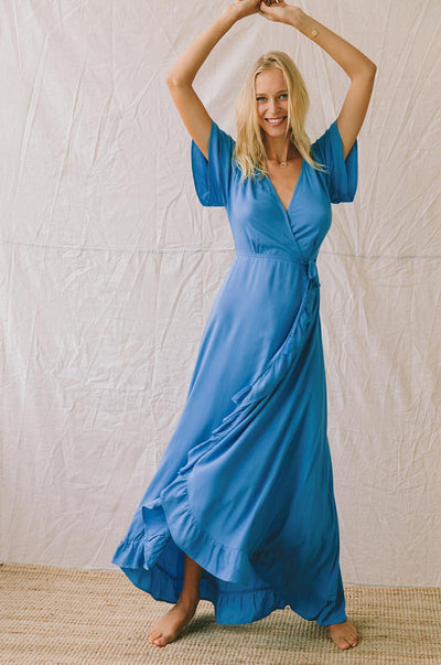 PARAISO Wrap Dress - ocean blue