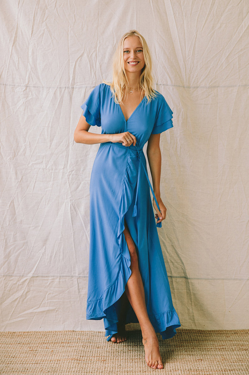 PARAISO Wrap Dress - ocean blue ecovero