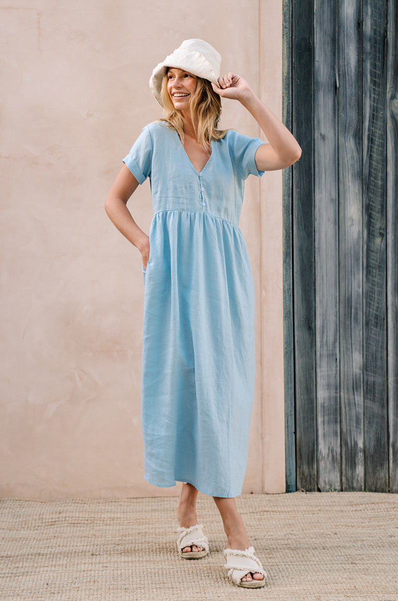 SUNSEEKER Midi Dress - sky blue linen