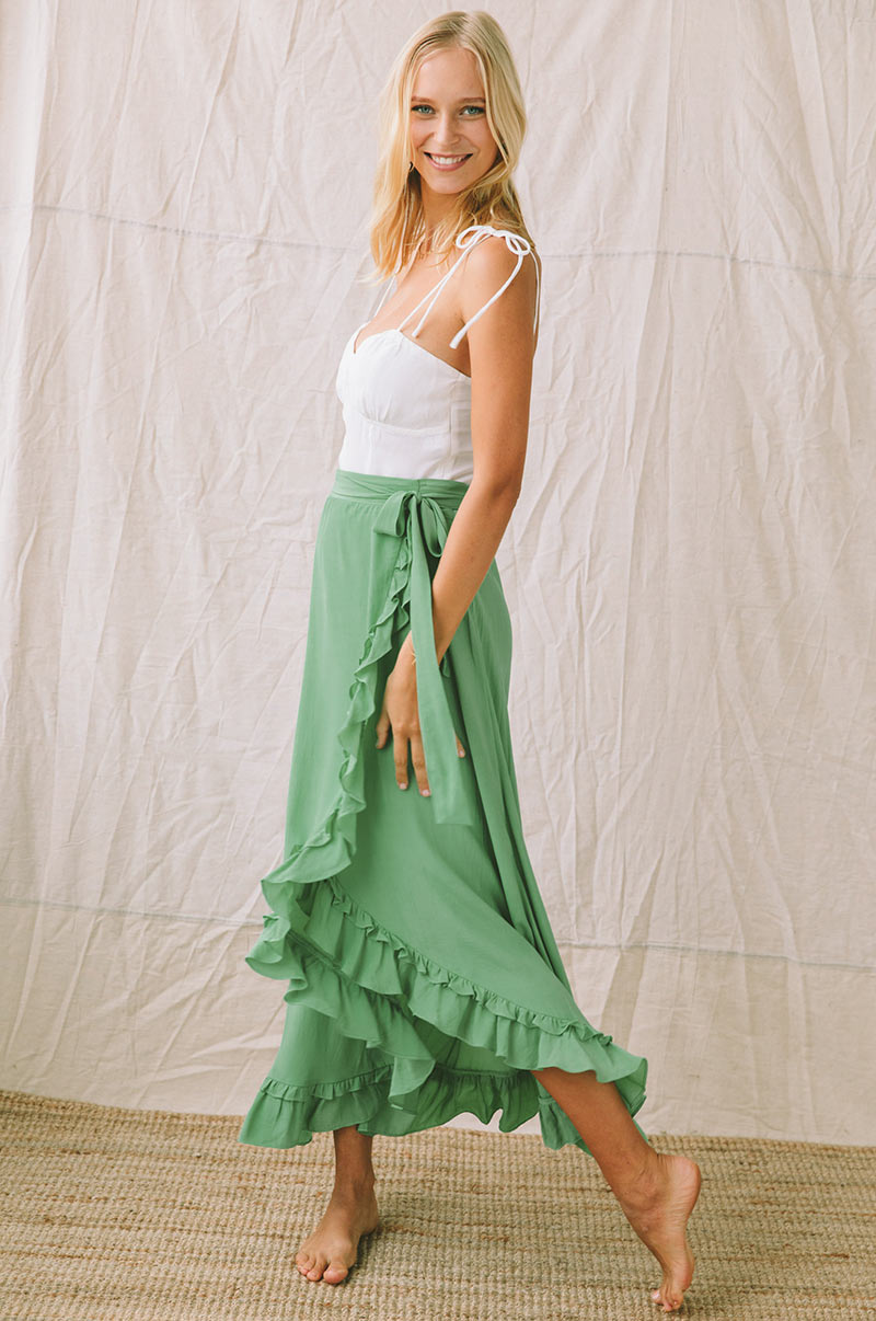 LAGOON Wrap Skirt - sea green
