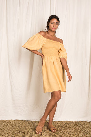 VOYAGE Mini Dress - caramel linen