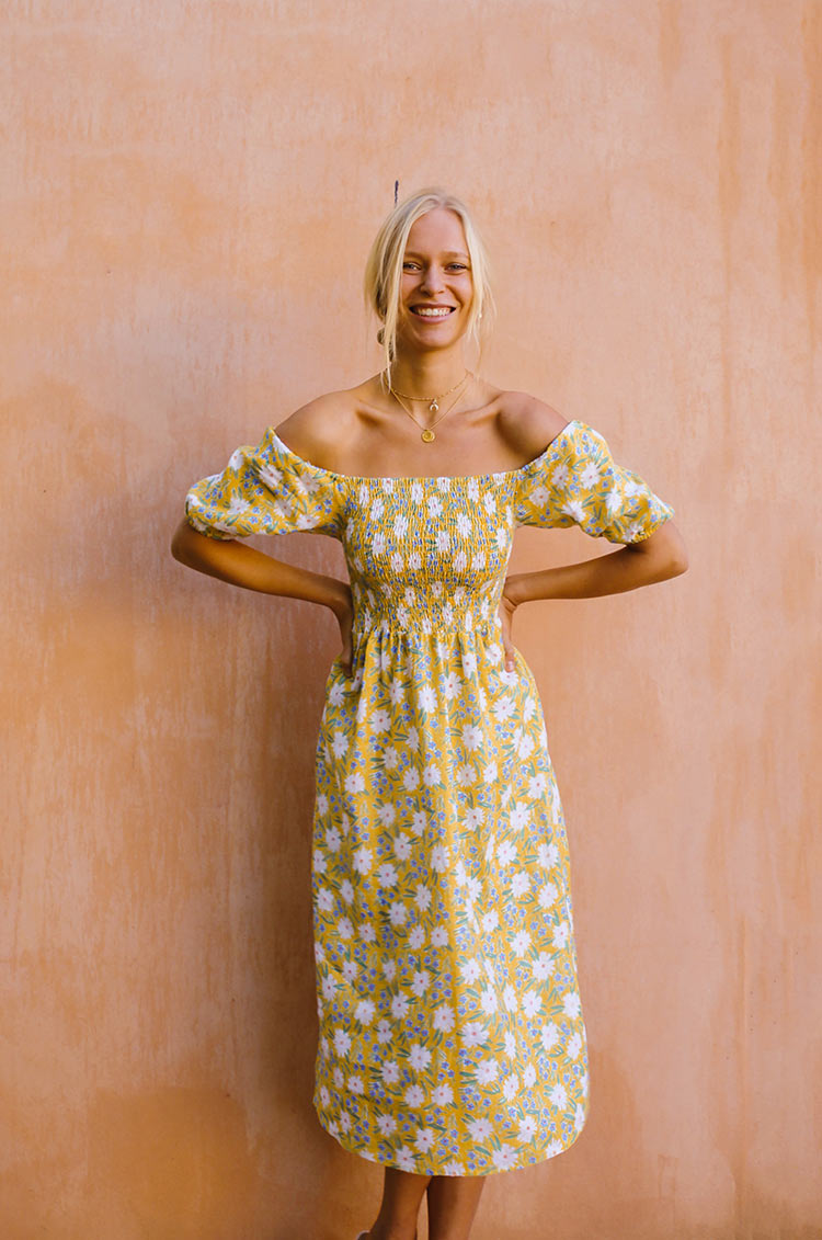 CAPRI Dress - marguerite floral linen