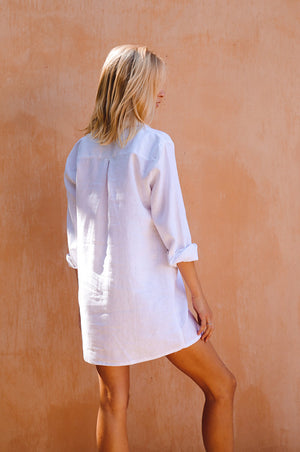 CYPRESS Shirt Dress - white linen