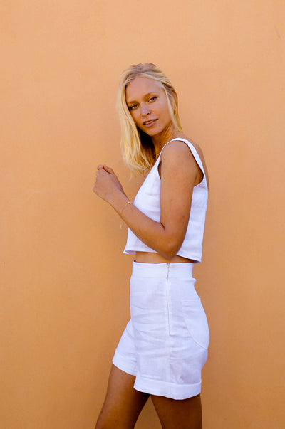 MALLORCA Top - white linen