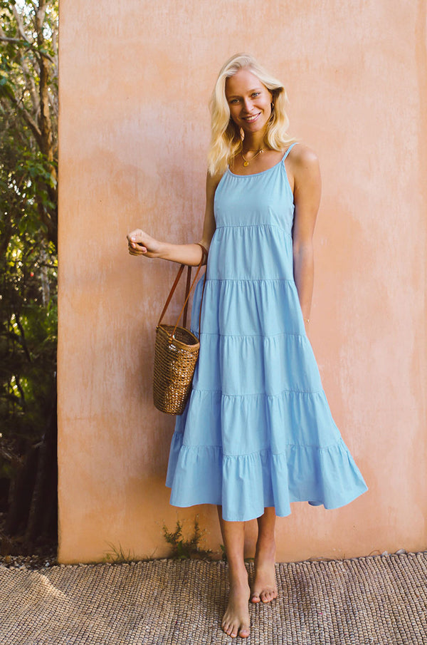 SARDINIA Dress - sky blue cotton