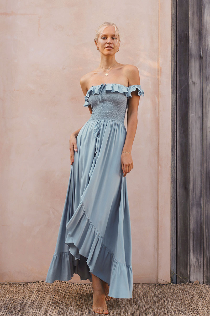 UDAIPUR Dress - dusty blue