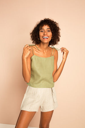 CHENNAI Top - light khaki linen