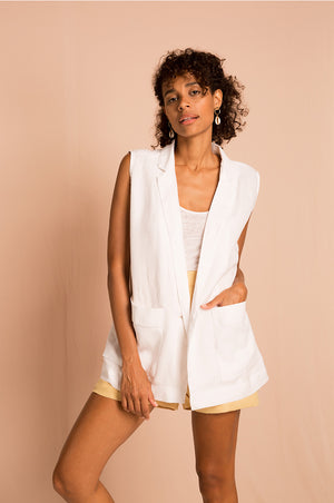 ELBA Sleeveless Blazer - white linen