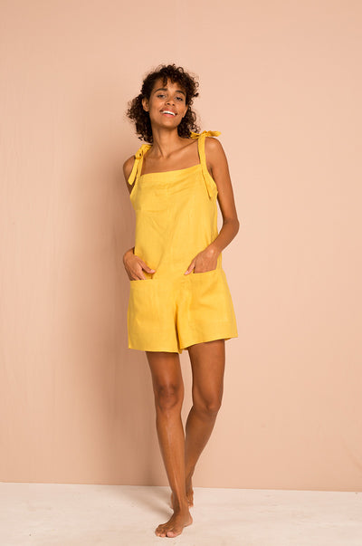 LUCKY BAY Jumpsuit - yellow linen
